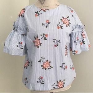 H&M pinstripe floral blouse 🌹